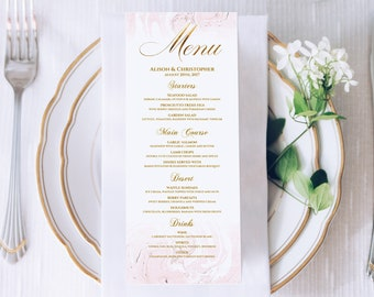 wedding menu card editable template printable menu card pink marble faux gold foil dinner menu printable rehearsal dinner menu bridal shower