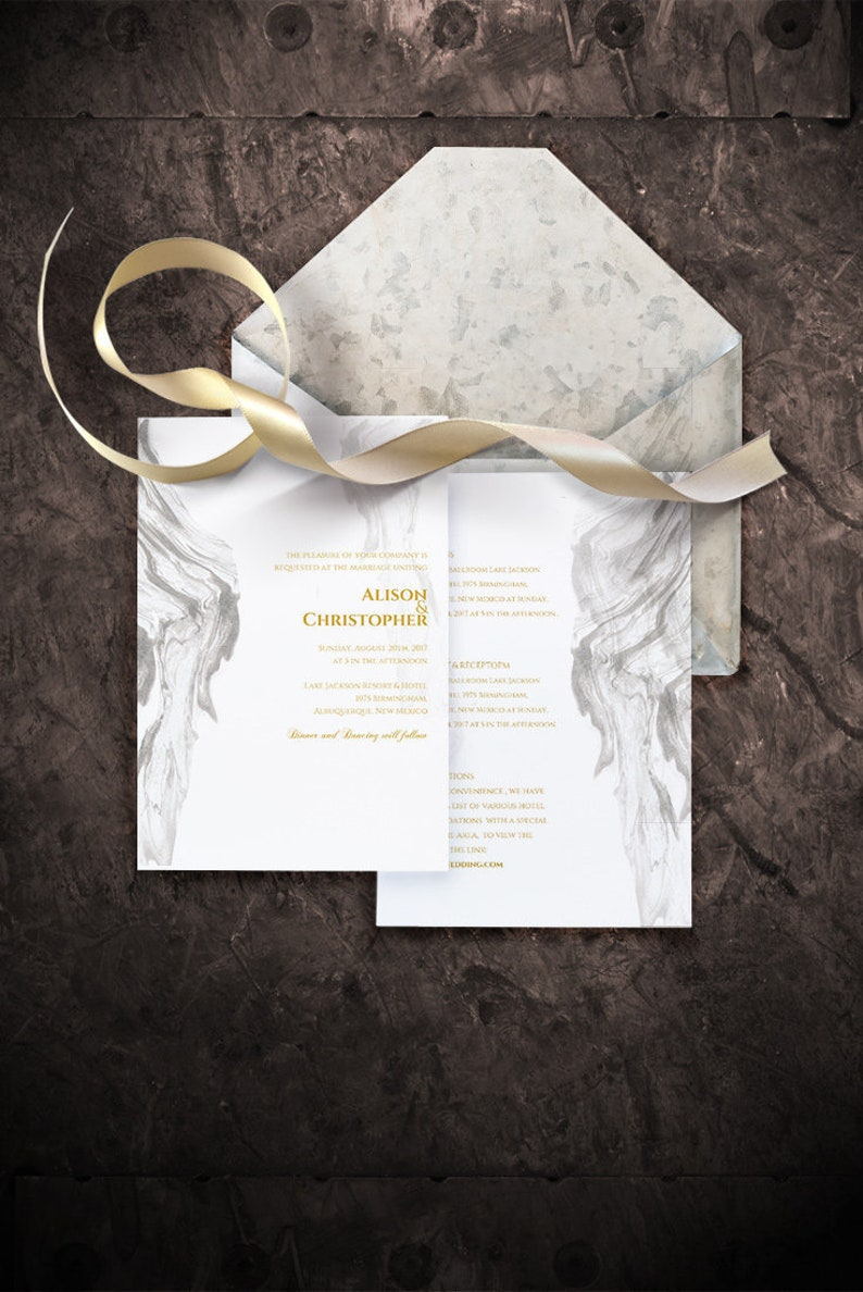 Printable Ivory Marble Wedding Invitation Template Editable Wedding Invitation Templates Ivory And Gold Wedding Invitation Instant Download