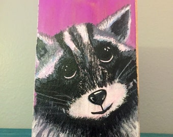 Raccoon in acrylic on wood- cute animals- painting