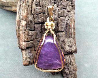 Rhodonite Wire Wrap Gemstone Pendant Handmade Free Form Cabochon Wrapped with 14kt Gold Filled Wire