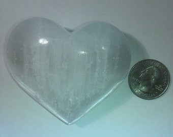Selenite Crystal Heart Hand Carved Puffy Gemstone Cleansing Reiki
