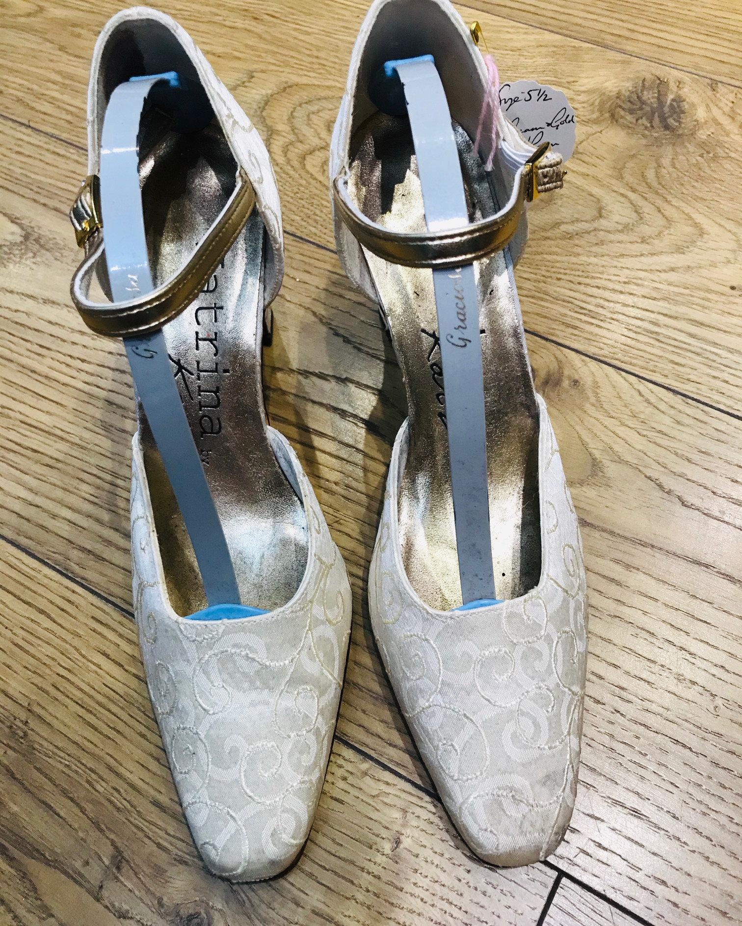 Katrina Katz Cream /& Gold WeddingProm Silk Shoes