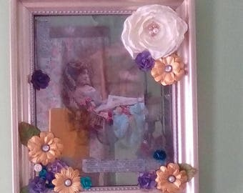 mixed media collage assemblage Victorian photo shabby chic mirror paint frame
