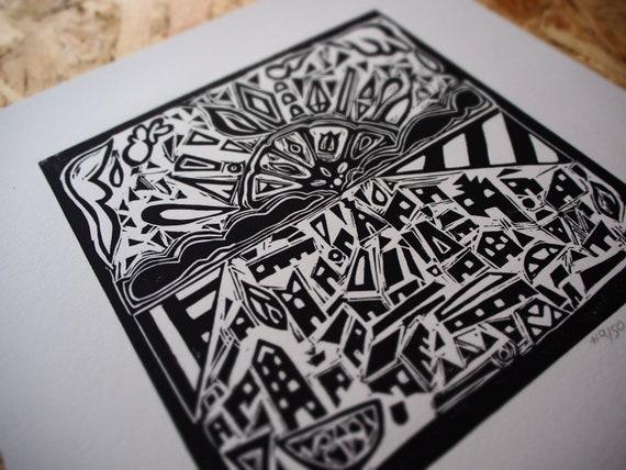 Habitats; Sunrise/Sunset (original handmade linocut art print by Salford, Manchester based artist Greg Meade. Based on Marrakech in Morocco)