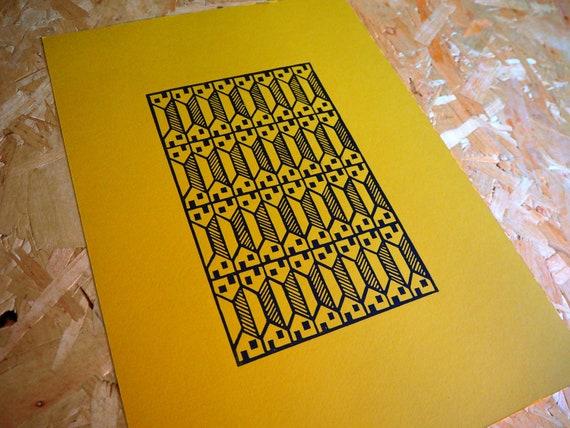 Habitats; Back2Back ( Original Handmade Fine Art Manchester Terraced House Home Linocut by Greg Meade )
