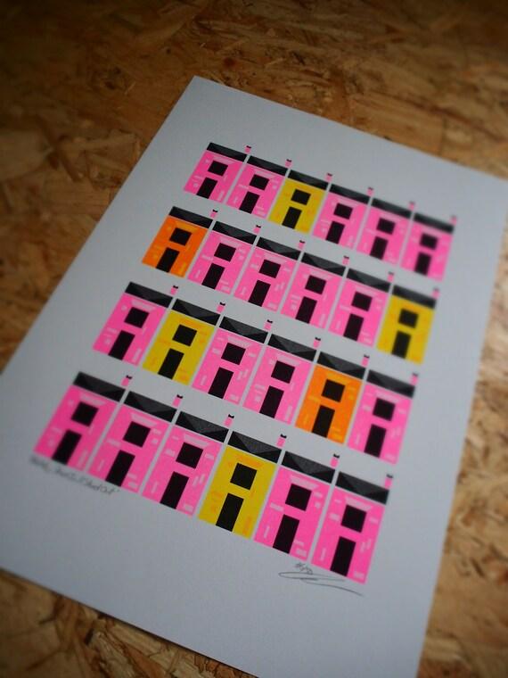 Habitats Terraced House Fluorescent Pink Pattern Riso Risograph Art Print