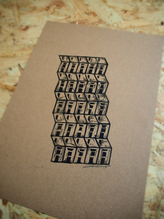 Habitats; 1StepForward//2Back Northern Terraced House Original Linocut Art Print