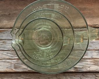 Rubbermaid Clear Green Plastic Measuring Cups J3021, J3022, J3024 US Measure