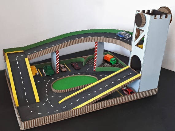 Toy Car Play Mat With Lift And Parking Etsy