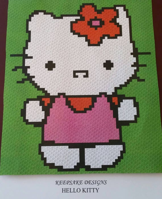 Hello Kitty Babychild Size Corner To Corner Crochet Blanket Etsy