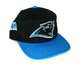 Vintage 90s Carolina Panthers Sports Specialties NFL Football Pro Line Spellout Snapback Hat