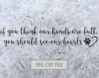 Full Hearts Dog Paw Print SVG Cut File