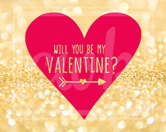 """Valentine's Day SVG Cut File: """"Will You Be My Valentine?"""" Heart"""