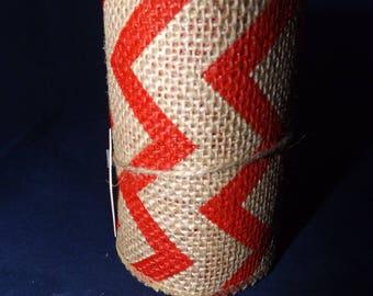 "Wired Burlap Ribbon - 10' x 4"" - Chevron Zigzag - Brown & Red"