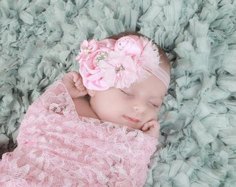 Newborn Headband, Pink Chiffon Flower Headband, Newborn Photo Prop, Shabby Chic Headband, Newborn photo Prop