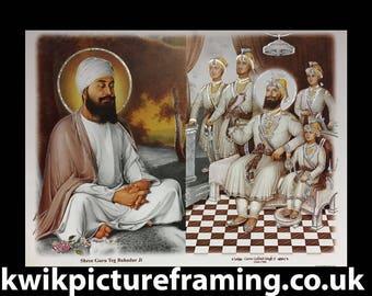 """23/"""" X 18/"""" Pouces Guru Tegh Bahadur Ji neuvième gourou des Sikhs Photo Encadrée"""