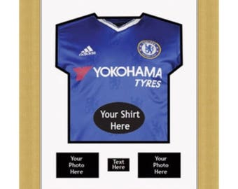 0c5118384 DIY Frame To Display Football Shirts With 2 Photos And Title- Chelsea - White  Mount - Framed Tee - Shirts - Sport Gifts
