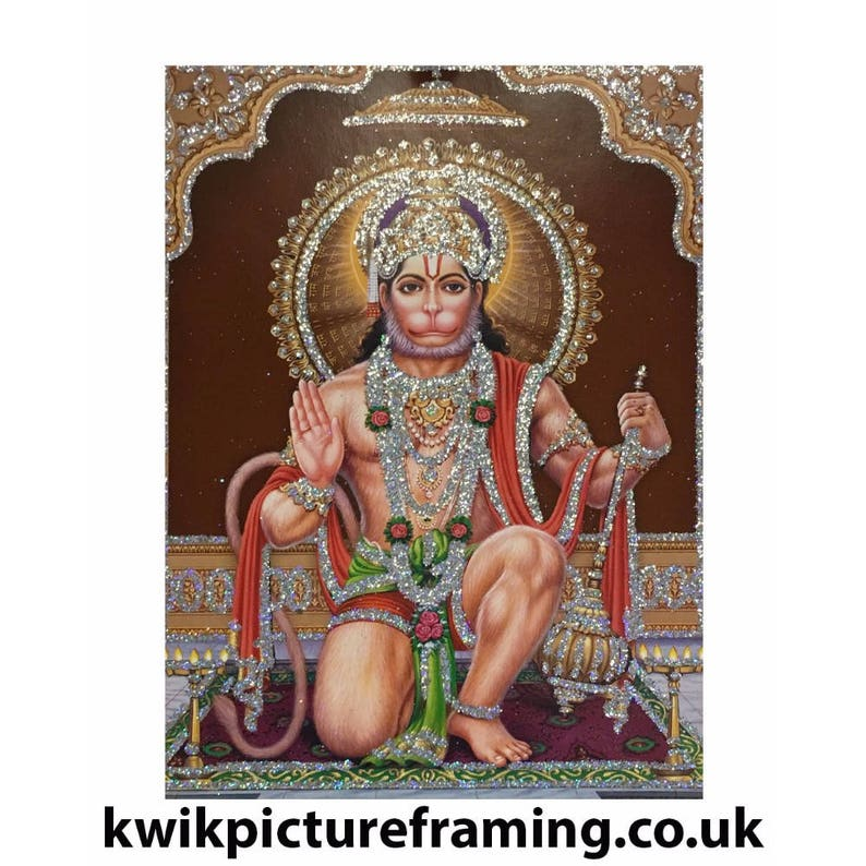 Hindu God Shri Ram Bhakt Hanuman Ji Picture Frame In Size \u2013 7\u2033 X 5\u2033 Inches Hinduism Religious Photo Picture Frames