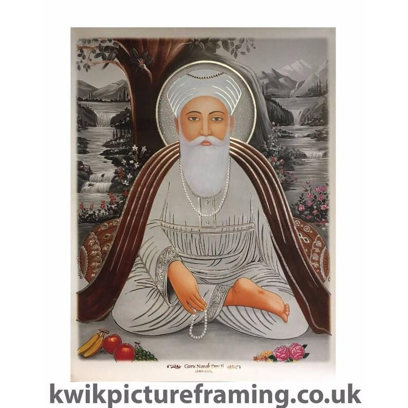 First Sikh Prophet Saints Guru Nanak Dev Ji Photo Picture Framed In Size 23\u2033 x 18\u2033 Inches