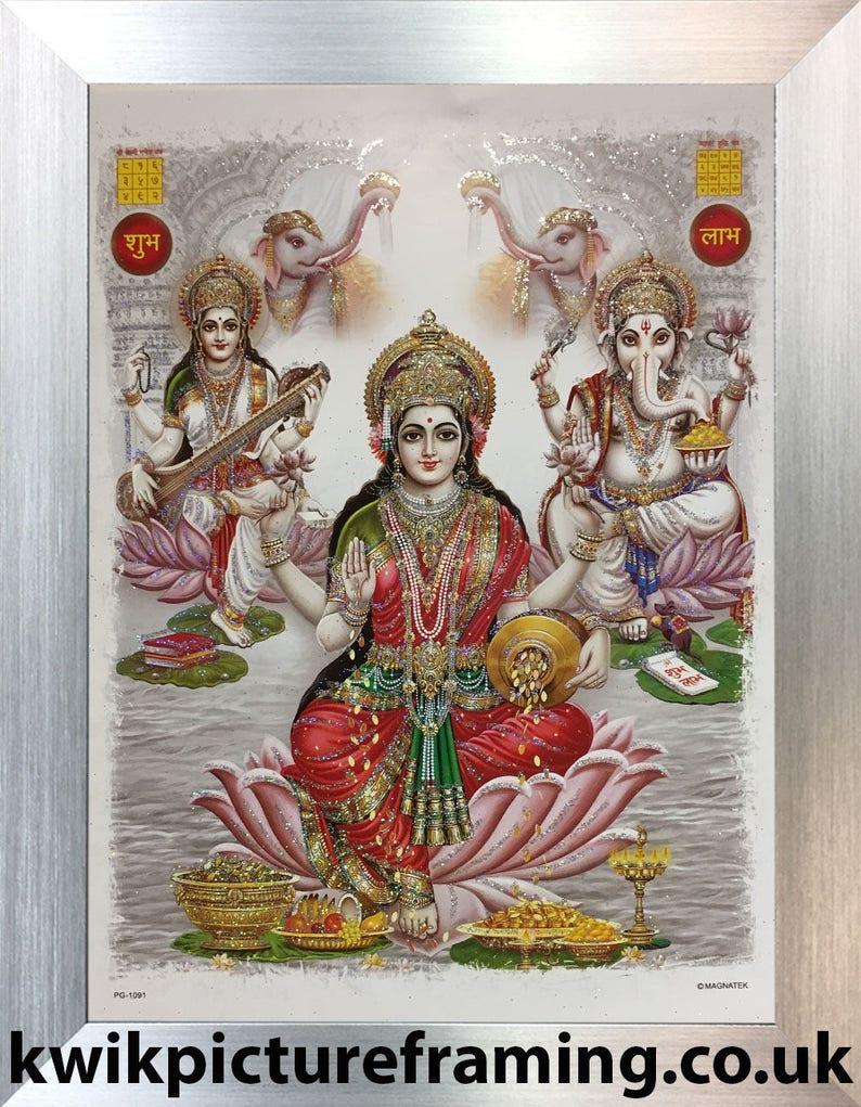Saraswati And Ganesha 12\u2033 X 10\u2033 Inches Indian Deities Goddess Laxmi Hinduism Religious Photo Picture Frames