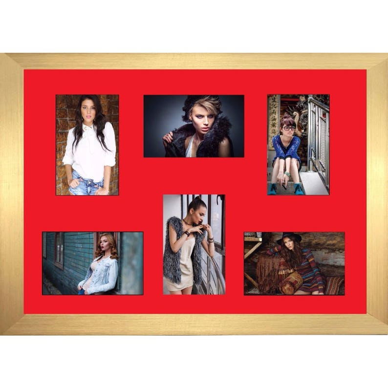 A5 size with 6 Openings Red Mount Multi-orientation Picture Photo Frames Choice of frames Colours Large Multi Photo Aperture Frame