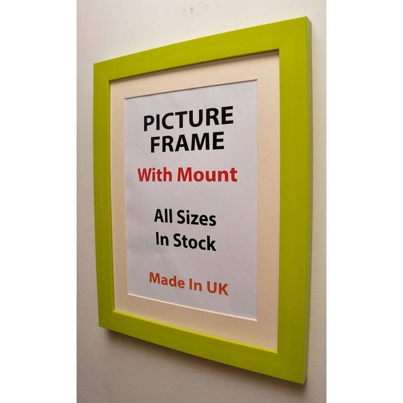 Lime Picture Frame with Ivory Mount 30mm X 20mm Deep Profile Picture Photo Frame Standing frame Wall Hanging Frame