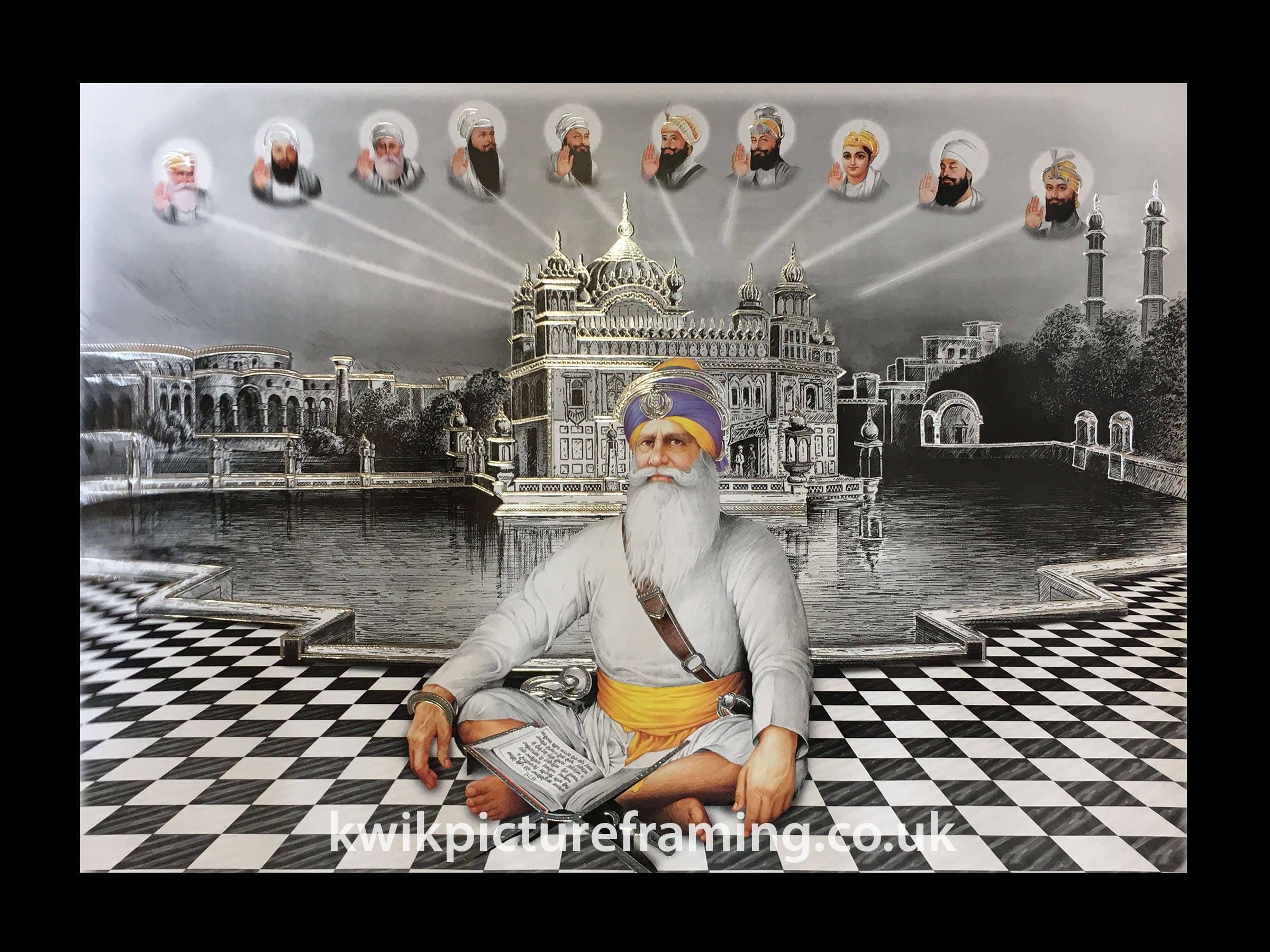 """Dix Sikh gourous Golden Temple Amritsar Sahib photos photo encadrée 16/"""" x 12/"""" pouces"""