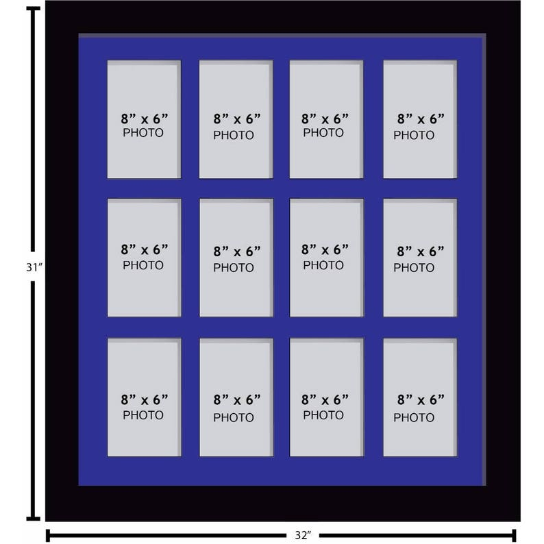 Portrait Picture Photo Frame 6 Frame Colour Choices Blue Mount Large Multi Photo Aperture Frames 8 x 6 Inches size with 12 Openings