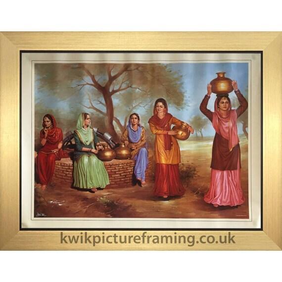Punjabi Scene Of Women Working In Village In Punjab India In Etsy