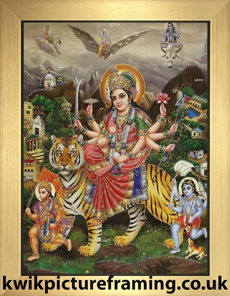 Durga Sherawali Maa Hindu Goddess 12\u2033 X 10\u2033 Inches Bhawani Ambe Photo Frames