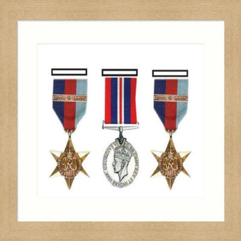 Military/War 3D Box Three Medal Frame - White Mount
