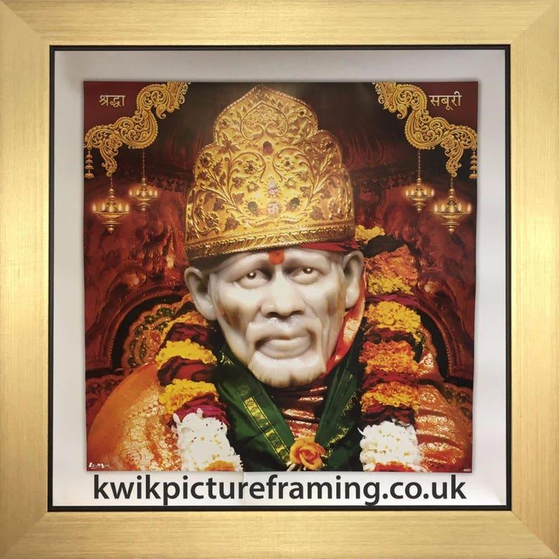 """10/"""" x 10/""""Indian Saints SAIBABA de Shirdi dieu hindou photo encadrée en taille"""
