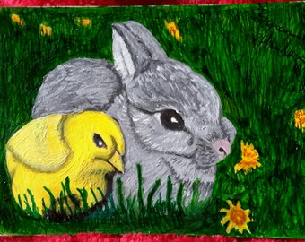 Bunny and chick (aceo) miniature  painting