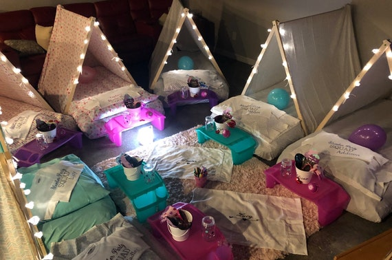 Girl's Sleepover Birthday Party Tent done with lights