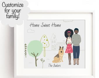 Custom Family Portrait Illustration, Family Sign, Couples Portrait, Unique Family Name Decor, Valentines Day, Mothers Day, Family Sign