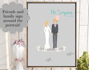 Wedding Guest Book Alternative, Custom Wedding Portrait on Canvas, Guestbook Sign, Portrait Guest Book, Personalized Guestbook, Custom Book