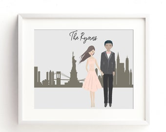 Custom City Scape Family Portrait, Family Portrait Illustration, Personalized Family Portrait, Custom Family Drawing, Family Sign