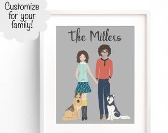 Custom Family Portrait, Family Sign, Family Portrait Illustration, Family Name Decor, Valentines Gift, Custom Family Drawing, Family Sign