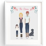 Custom Family Portrait, Family Portrait Illustration, Family Name Decor, Personalized Family Portrait, Custom Family Drawing, Family Sign