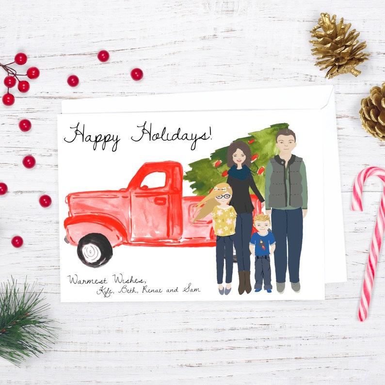 Custom Christmas Card Family Portrait Illustration image 0