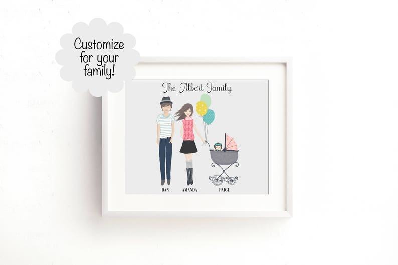 Custom Family Portrait Family Portrait Illustration Baby image 0