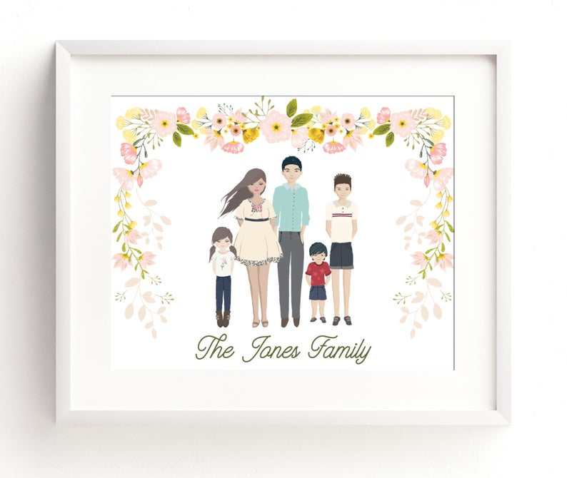 Custom Family Portrait Family Portrait Illustration Family image 0