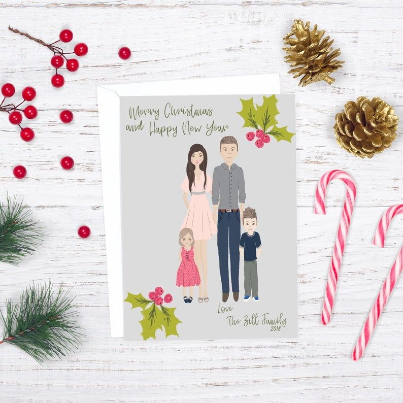 Custom Christmas Card Family Portrait Illustration image 0