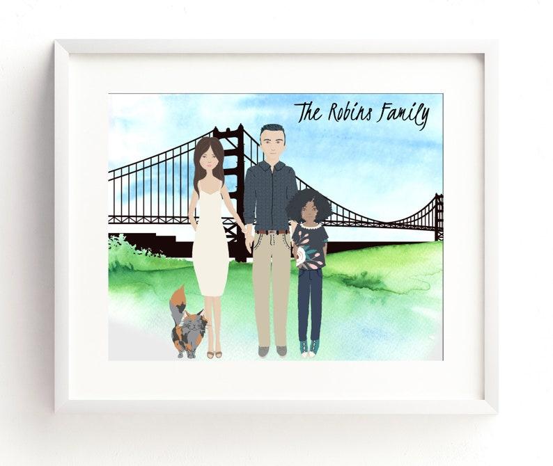 Custom City Scape Family Portrait Family Portrait image 0