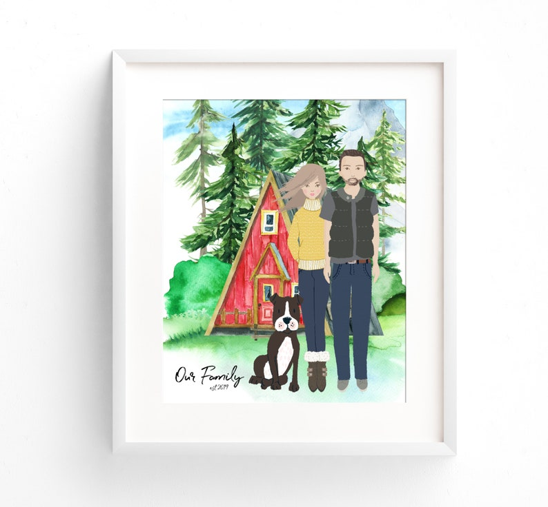 Custom Family Portrait Illustration Couples Portrait Unique image 0