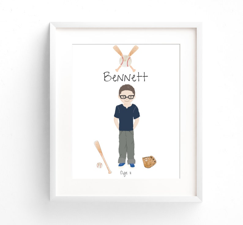 Child Portrait Custom Birthday Illustration Print Birthday image 0