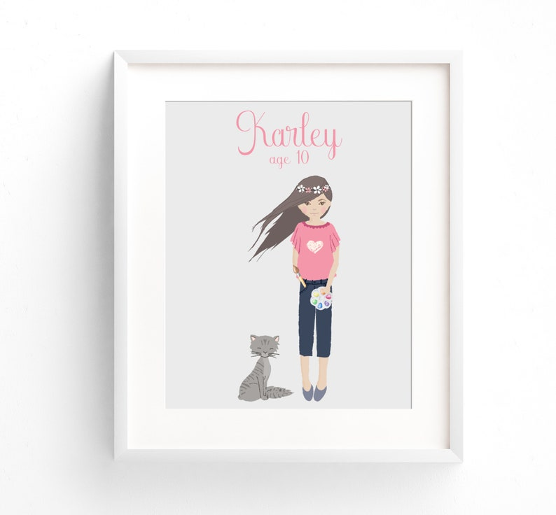 Child Portrait Custom Birthday Illustration Print Birthday image 0