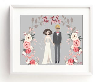 Custom Wedding Portrait, Family Portrait Illustration, Personalized Wedding Gift, Unique 1st Family Name Decor, Gift for Her, Family Sign