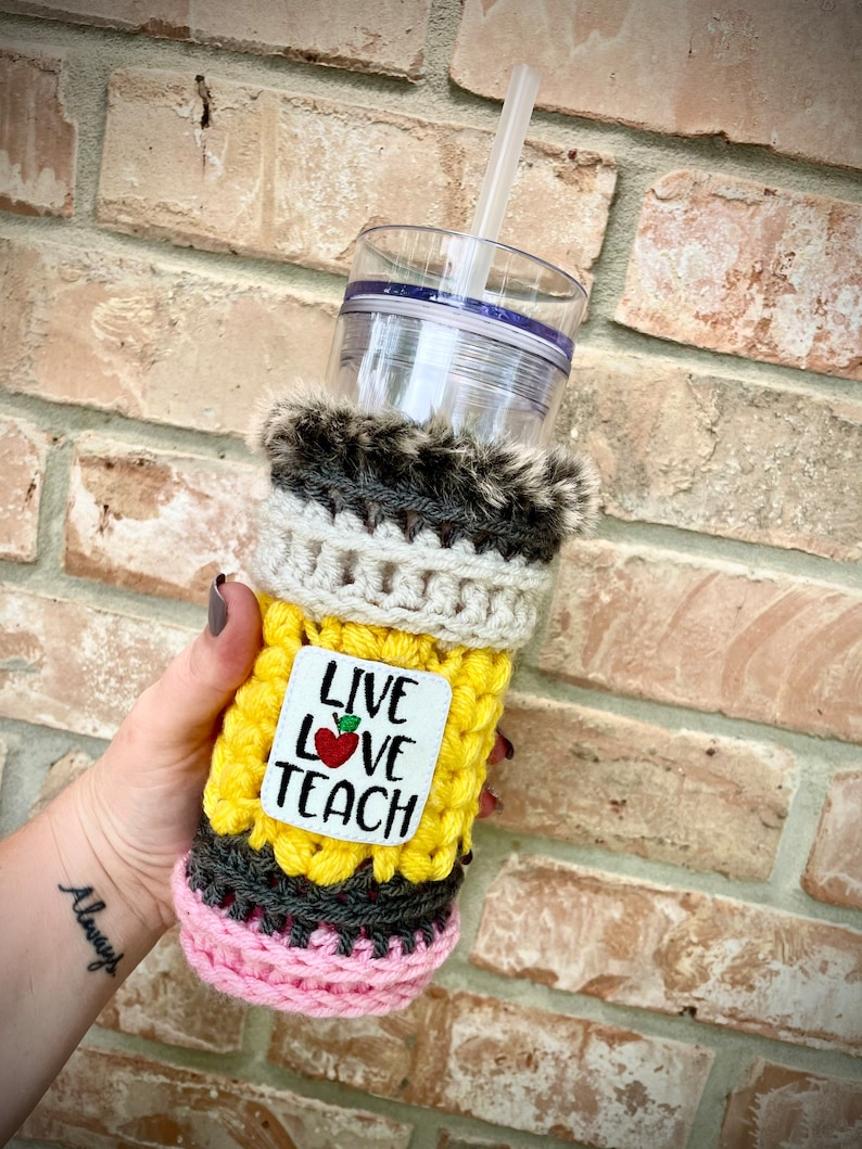 Live Love Teach Skinny Tumbler Crochet Cup Sweater with Faux image 0