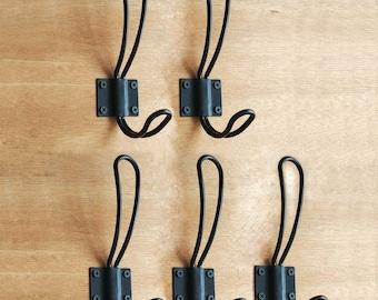 Black Rustic Wall Hooks - Set of 2 Hooks - Antique Shabby Chic  - Coat Rack Bathroom Towel Hanger Vintage Entryway Organizer Farmhouse
